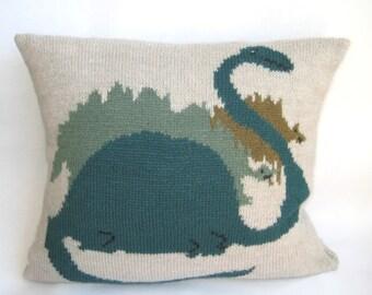 Decorative Wool Pillow Case Dinosaur Kids Gray Green Animals Knitted 18 Wool/ Acrylic Christmas Children Fun Rustic by margity
