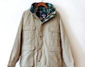 vintage woolrich parka khaki mens x large