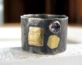 Handmade wide sterling silver, recycled 14k gold and iolite ring- size 7