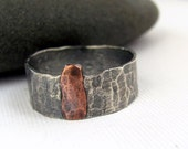 Rustic sterling silver and copper ring handmade mixed metal jewelry size 10 Unisex