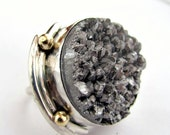 Silver druzy handmade sterling silver 14k gold ring size 7 and a half rough glamour avante garde high fashion ring