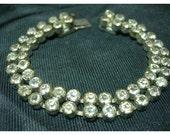 Vintage Czech Double Row Crystal Rhinestone Bracelet