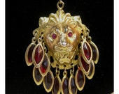 Reserved - Lion's Head Pendant Necklace with Red Dangles