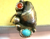 Native American Ring with Blue and Red Stone