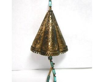 Walter Lampl Gold Filled Umbrella Brooch with Aqua Rhinestones