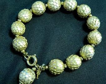 Trifari Pine Cone or Artichoke Bracelet - Signed with Key Hangtag