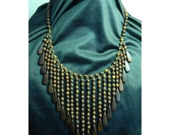 Vintage Wood Bead Bib Boho Necklace