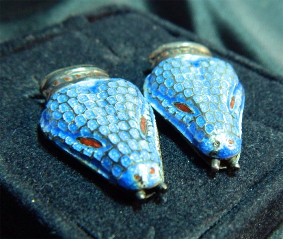 Vintage Mexican Sterling Snake Earrings Blue Enamel Signed MR-114 Margot de Taxco Design