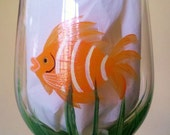 Reserved for Alica only, Orange fish hand painted wine glass