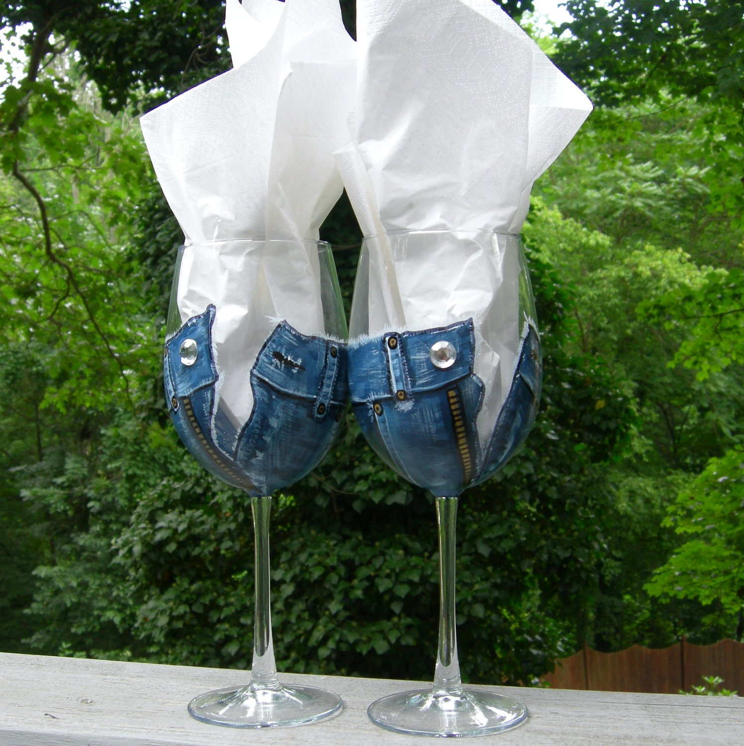 diamonds and denim hand painted wine glasses