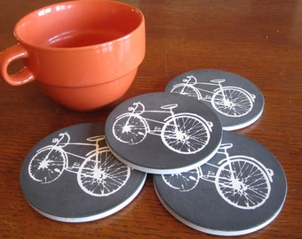 Bicycle Coasters with White Bike Le Velo Blanc Black Coasters-Bicycle Gift, gift for cyclists