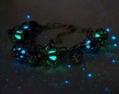 """Glowing Kryptonite - """"Kaged"""" Charm Bracelet - Gemstones and Agate - Glow in the Dark"""