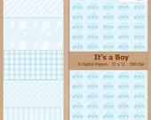 Digital Scrapbook Paper Pack - IT'S A BOY - Blue Instant Download