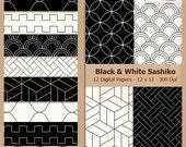 Digital Scrapbook Paper Pack - BLACK SASHIKO - Instant Download