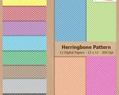 Digital Scrapbook Paper Pack - HERRINGBONE PATTERN - Instant Download