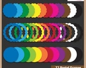 Digital Scrapbooking Frame Pack - SCALLOPED CIRCLES - Scrapbook Clip Art  - Instant Download