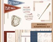 Digital Scrapbook Kit  - BASEBALL - Digital Paper Pack, Cut Outs, Borders and Photo Corners - Instant Download