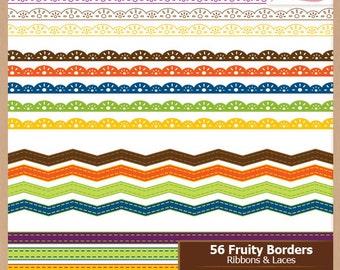 Digital Scrapbooking Border Pack - FRUITY LACE - Scrapbook Clip Art - Instant Download