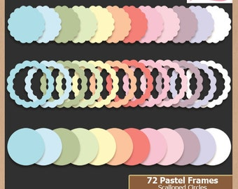 Digital Scrapbooking Frame Pack - PASTEL SCALLOPED CIRCLES - Scrapbook Clip Art  - Instant Download