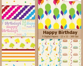 Digital Scrapbook Paper Pack - HAPPY BIRTHDAY - Instant Download