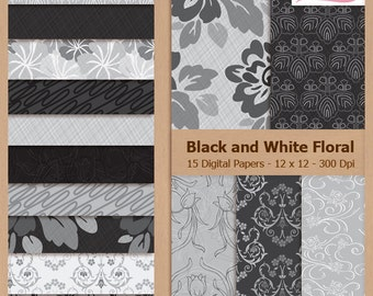 Digital Scrapbook Paper Pack - BLACK and WHITE FLORAL - Instant Download