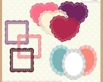 Digital Scrapbooking Frames and Embellishments - VALENTINE'S DAY - Frames & Doilies - Scrapbook Clip Art  - Instant Download
