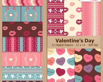 Digital Scrapbook Paper Pack - VALENTINE'S DAY - Instant Download