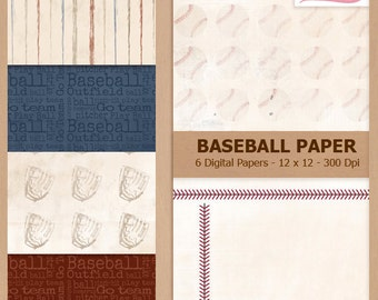 Digital Scrapbook Paper Pack - BLUE and RED BASEBALL - Instant Download