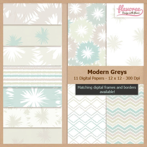 Digital Scrapbook Paper Pack - MODERN GREYS - Instant Download