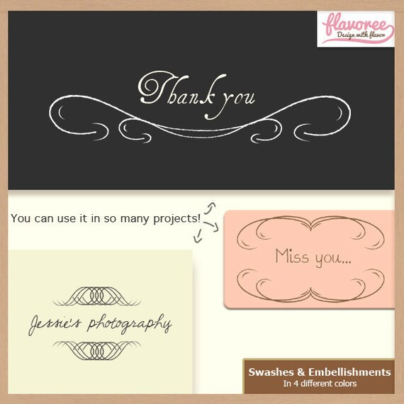 Digital Scrapbooking Pack - SWASHES & EMBELLISHMENTS - Scrapbook Embellishments - Instant Download