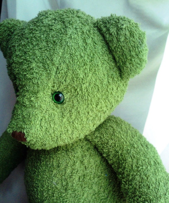 Handmade and dyed forest green teddy bear MADE TO ORDER