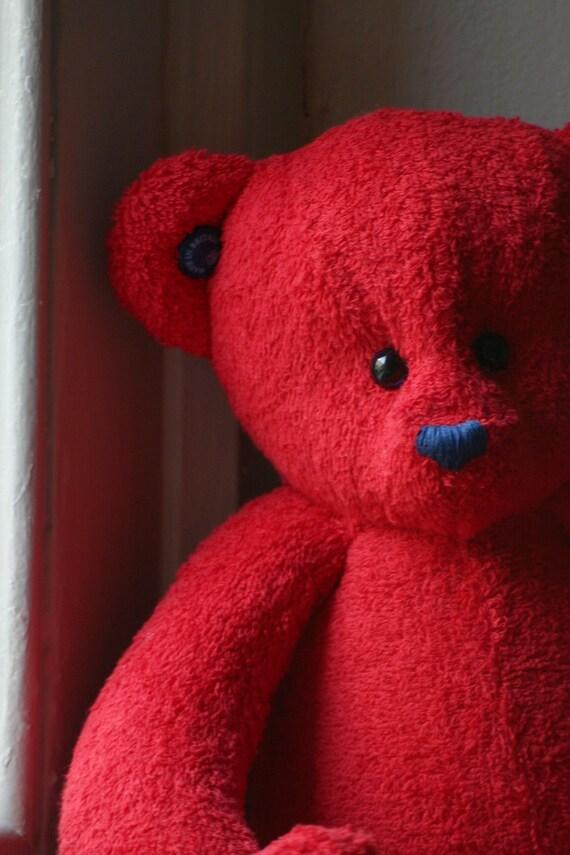 Handmade OOAK red British teddy bear.