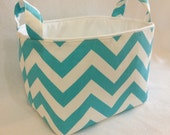 Fabric Bin, Fabric Storage Bin, Fabric Organizer Basket Chevron Zig Zag Aqua Blue/White
