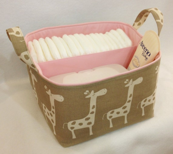 "Diaper Caddy 10""x10""x7"" Fabric Bin, Fabric Storage Organizer, Basket, Taupe/Natural Giraffe with Light Pink Lining"