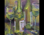 Limited Edition Print Chardonnay Wine and Glasses still life