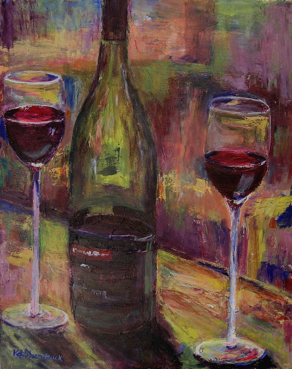 Limited edition giclee print pinot noir wine by for Paint vino