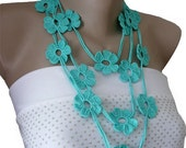 Teal Crochet Necklace, Crochet Flower Lariat Scarf Necklace, Strand necklace, Eco friendly, Bracelet,  Girl, Woman
