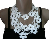 White Crochet Necklace, Crochet Flower Lariat Scarf Necklace  Bracelet, Strand necklace, Eco friendly, Girl, Woman