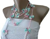Crochet  Flower Lariat Scarf Necklace Bracelet, Jewelry, White, Pink, Reseda, Woman, Girl