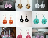 Buy 2 get 1 free Hand Crocheted Flower  Earrings in any color