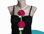 Handmade Crochet  Rose Necklace Lariat Scarf Purple Roses Women Girl