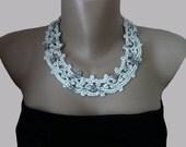 Crochet Necklace, Bridal Crochet Necklace,  Crochet  Jewelry, Holiday Jewelry, Wedding, Bridal, Romantic, White,  Rainbow ,  Silk