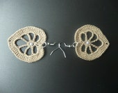 Beige Crochet Earrings, Crochet Jewelry, Eco friendly,  Woman, Girl