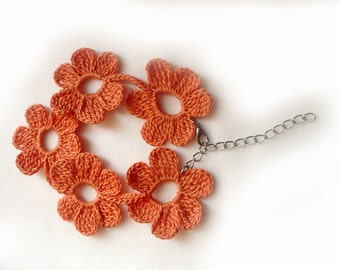 Orange Crochet  Flower  Bracelet, Jewelry, Eco Friendly,  Girl, Woman