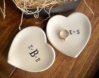 monogram ring dish, engagement ring holder,  custom ceramic  heart shaped jewelry bowl,  Black and White Pottery