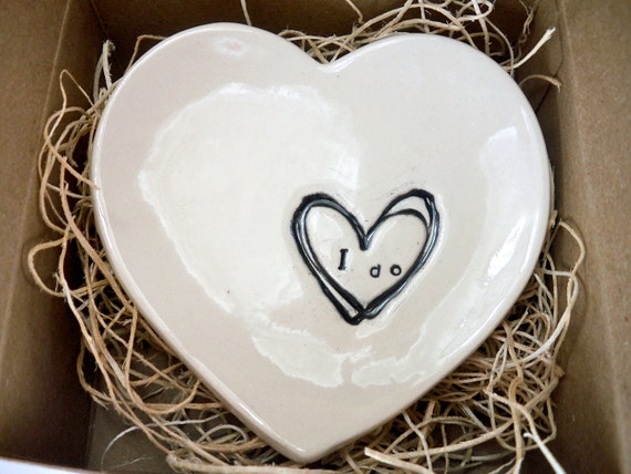 I Do Heart Bowl, Ring Dish, Gift Boxed ready to ship, Home Decor, Candle Holder, Hand Made Pottery