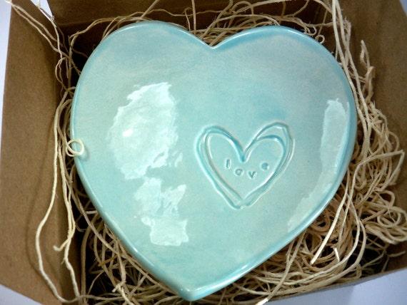 ring holder, wedding ring dish,  aqua heart bowl, engagement, anniversary, kitchen, Gift Boxed, Ready to Ship