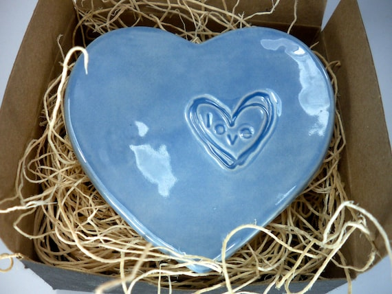 Ring holder, wedding ring dish, engagement, anniversary, Blue, Gift Boxed Ready to Ship
