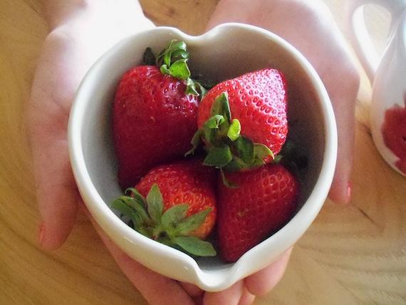 ceramic bowl, white heart,  Ready to Ship, Home Decor, Kitchen