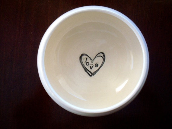 Bowl,  Stamped with Heart and LOVE, White and Black, Handmade Pottery, Gift Boxed, Ready to Ship